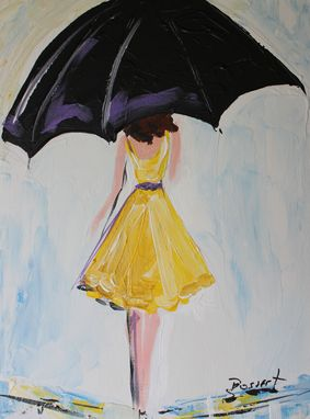 Custom Made Umbrella Girl In Yellow Dress #2