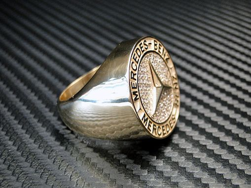 Custom Made 14k Yellow Gold Mercedes Logo Ring