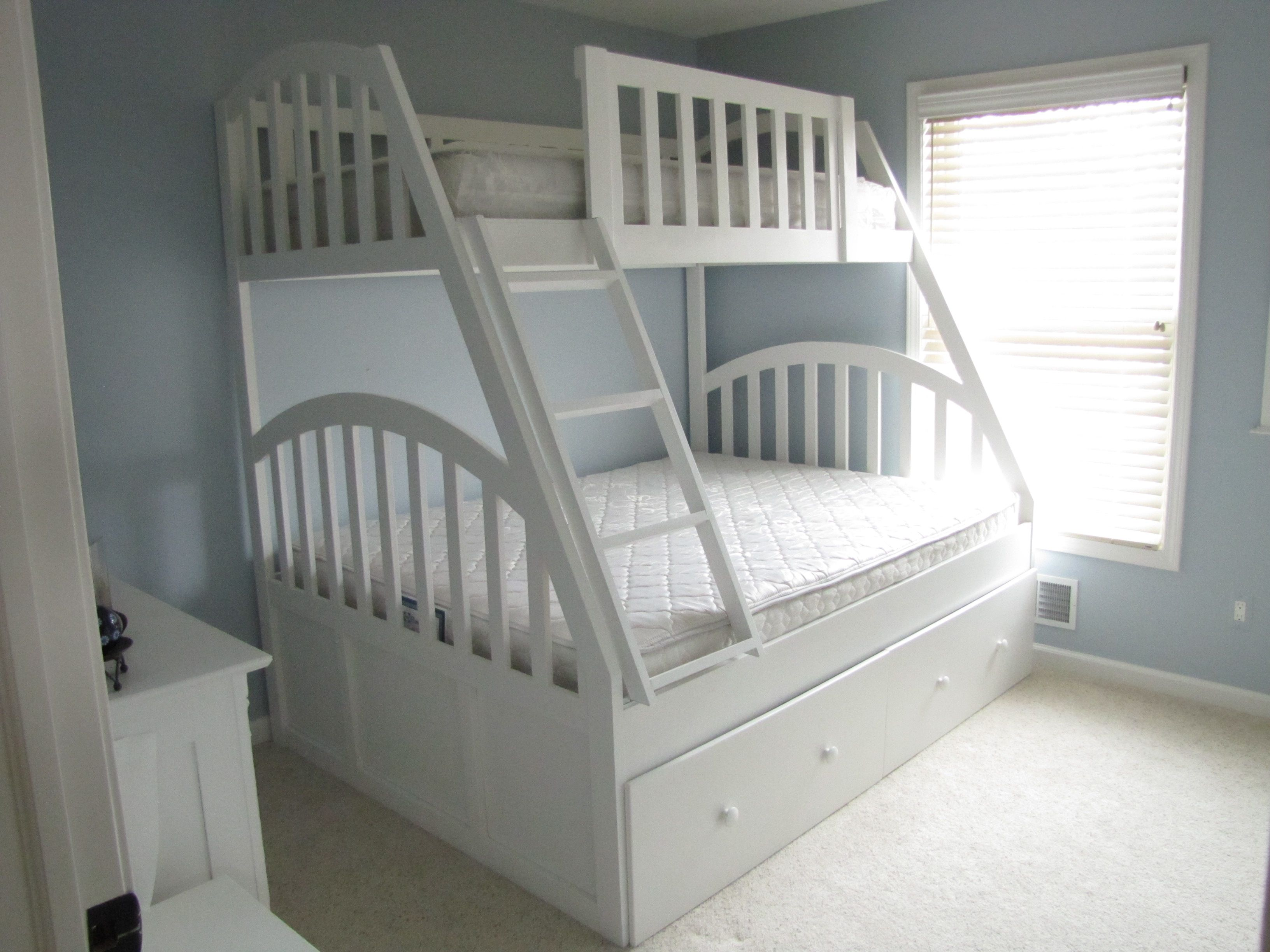 Hand made queen and xl twin bunk bed with full trundle by - Cool queen bed frames ...