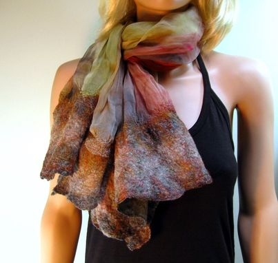 Custom Made Felt Bordered Scarf Painted Silk With Felted Borders