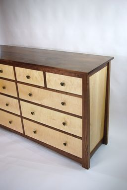 Custom Made Black Walnut And Curly Maple Dresser And Nightstands