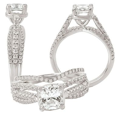 Custom Made 18k White Gold Diamond Engagement Ring Semi-Mount, Holds Square 6mm Cushion
