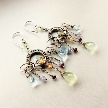 Custom Made Sterling And Fine Silver Chandelier Earrings, Prehnite, Blue Topaz, Garnet, Tanzanite