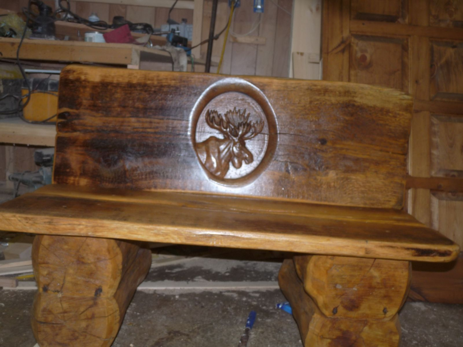 Hand Made Oak Slab Log Bench With Moose Head Carving By