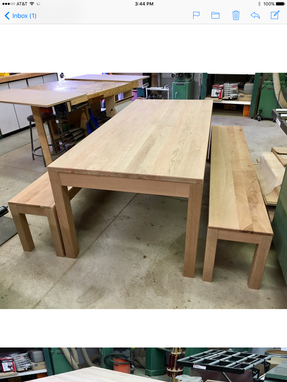 Custom Made Solid Cherry Dining Table With Benches