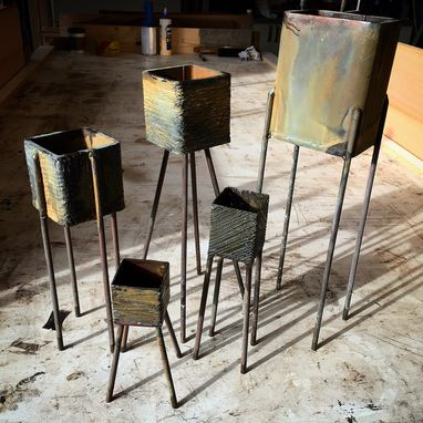 Custom Made Steel W/ Patina Pots