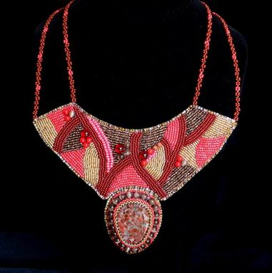 Custom Made Chocolate Cherry Sunset Bead Embroidered Necklace