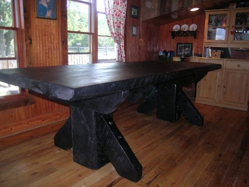 Custom Made Massive Thick Plank Timber Trestle Table From Antique Barnwood