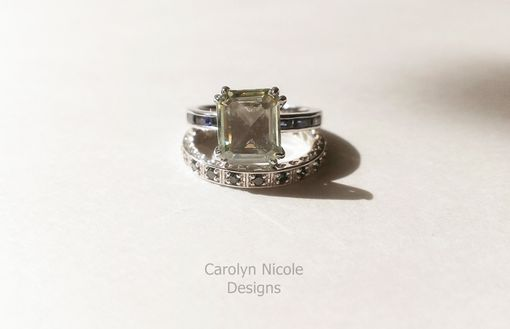 Custom Made Emerald Cut And Blue Sapphire Baguette Ring