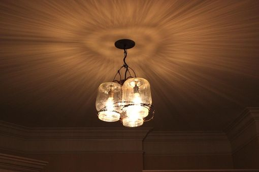 Custom Made Lighting Project Using Antique Glass Chicken Drinkers