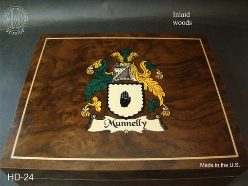 Custom Made Custom Humidor With Family Crest Hd24.  Free Shipping