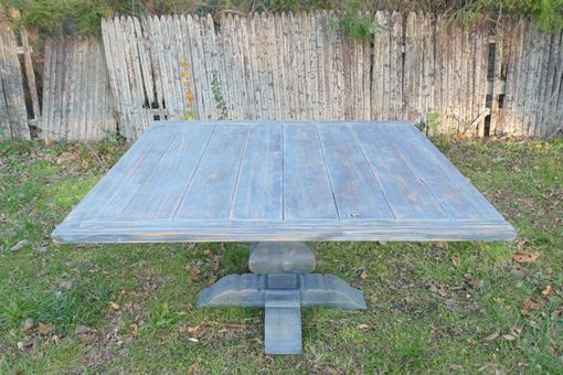 Custom Made Reclaimed Wood Square Urn Pedestal Farmhouse Table