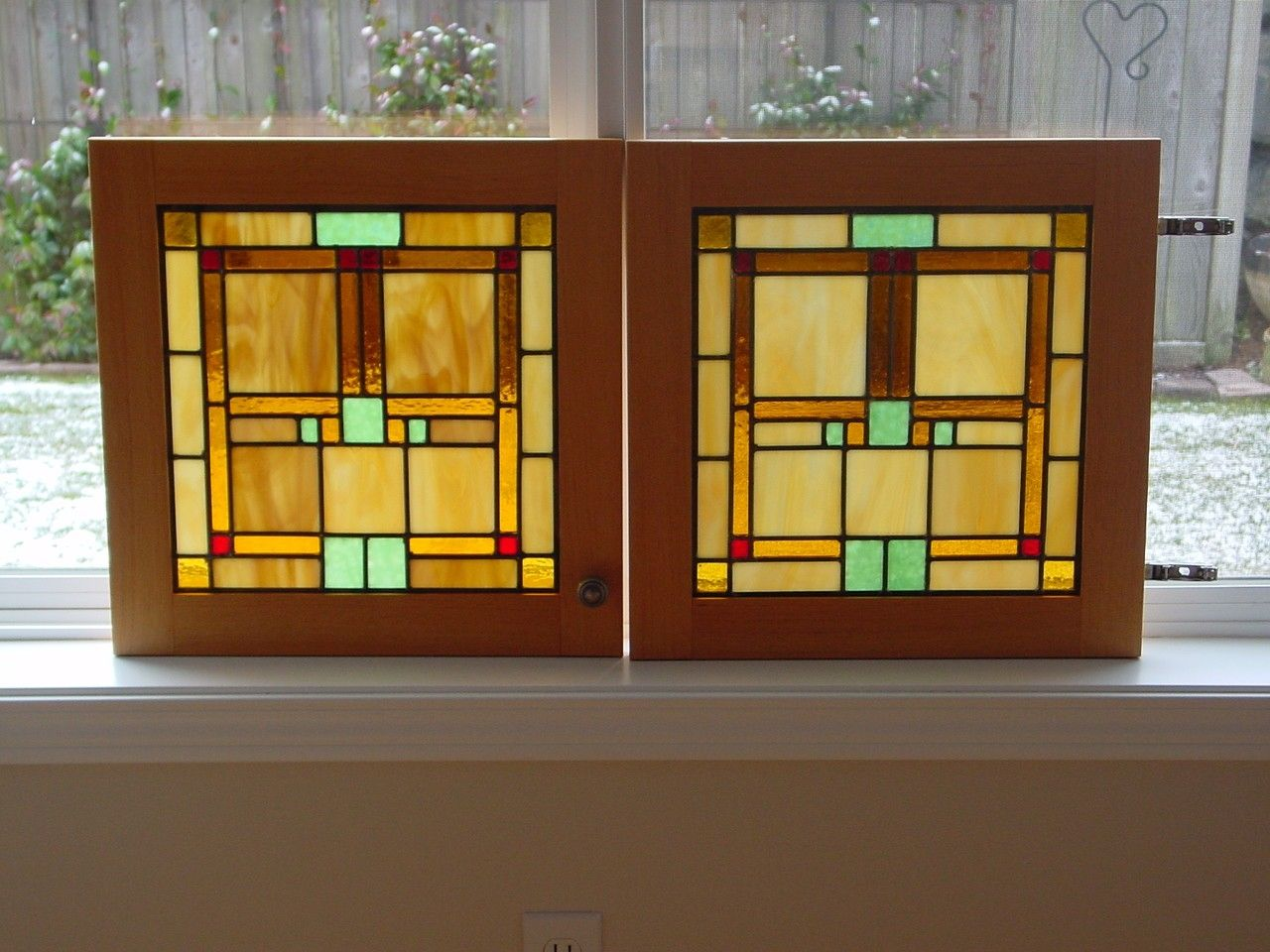 handmade custom cabinet door stained glass panels by chapman