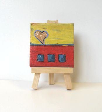 Custom Made Valentine's Day Abstract Heart Painting, Original Acrylic On A Mini Canvas