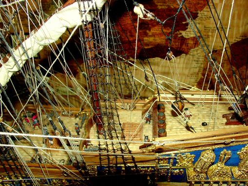 Custom Made Ship Model With Display Case And Marquetry Map