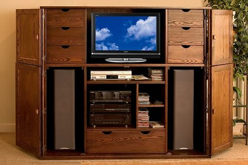 Custom Made Solid Ash Entertainment Center