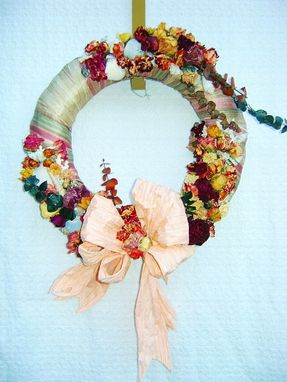 Custom Made Fabric Wrapped Dried Rose And Seashell Wreath