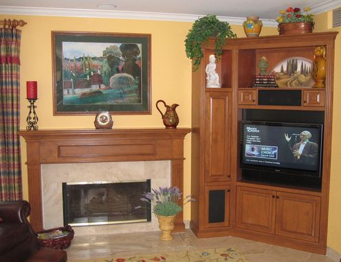 Hand Crafted Corner Entertainment Center Fireplace Mantle