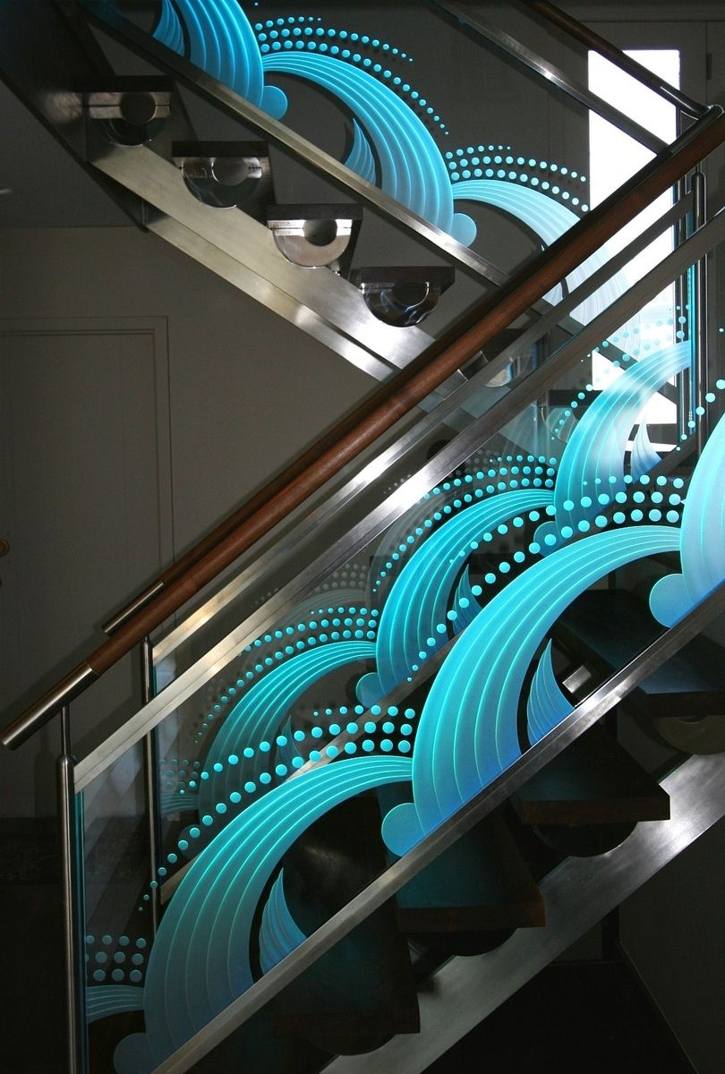 Hand Crafted Illuminated Carved Etched Glass Staircase