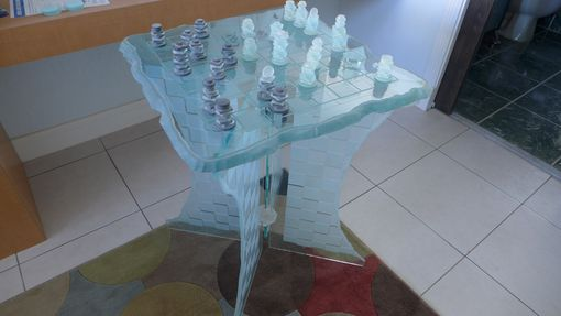 Custom Made Glass Chess Set And Chess Table