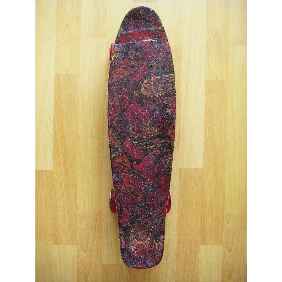Hand Made Red Paisley Mini Retro Skateboard by Lunch Skate ...