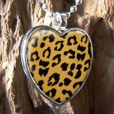 Custom Made Leopard Print Retro Rockabilly Sterling Silver Necklace 206-Shn