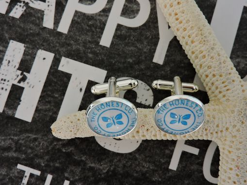 Custom Made Sterling Silver Plated Glass Bezel Setting Cufflinks