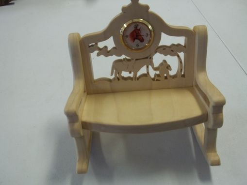 Custom Made Small Hand Carved Wooden Bench With Clock
