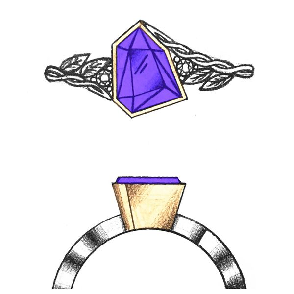 Our sketch for a uniquely faceted free-form tanzanite center stone, contrasting its geometry with organic, natural branch and vine details.