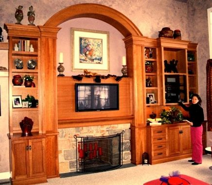 Custom Made Cherry Entertainment Center And Wall Unit