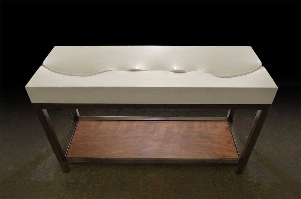 Custom Fluidity Concrete Sink W Black Steel Vanity Base