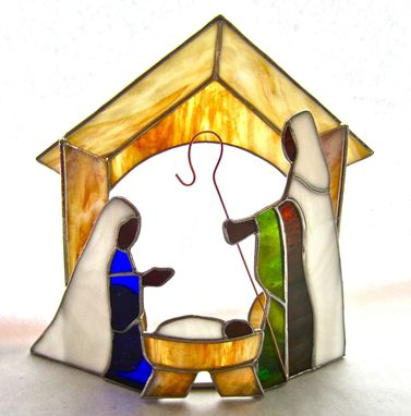 Custom Made Stained Glass Manger Scene With Additional Pieces