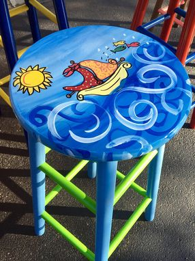 Hand Crafted Whimsical Painted Painted Bar Stool Nautical