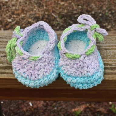 Custom Made Crochet Baby Booties Shoes Purple White Blue Green Cotton