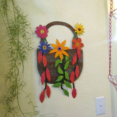 Custom Made Handmade Upcycled Metal Basket Of Flowers Wall Art Sculpture