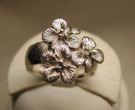 Custom Made Sterling Silver Forget-Me-Not Cluster Ring
