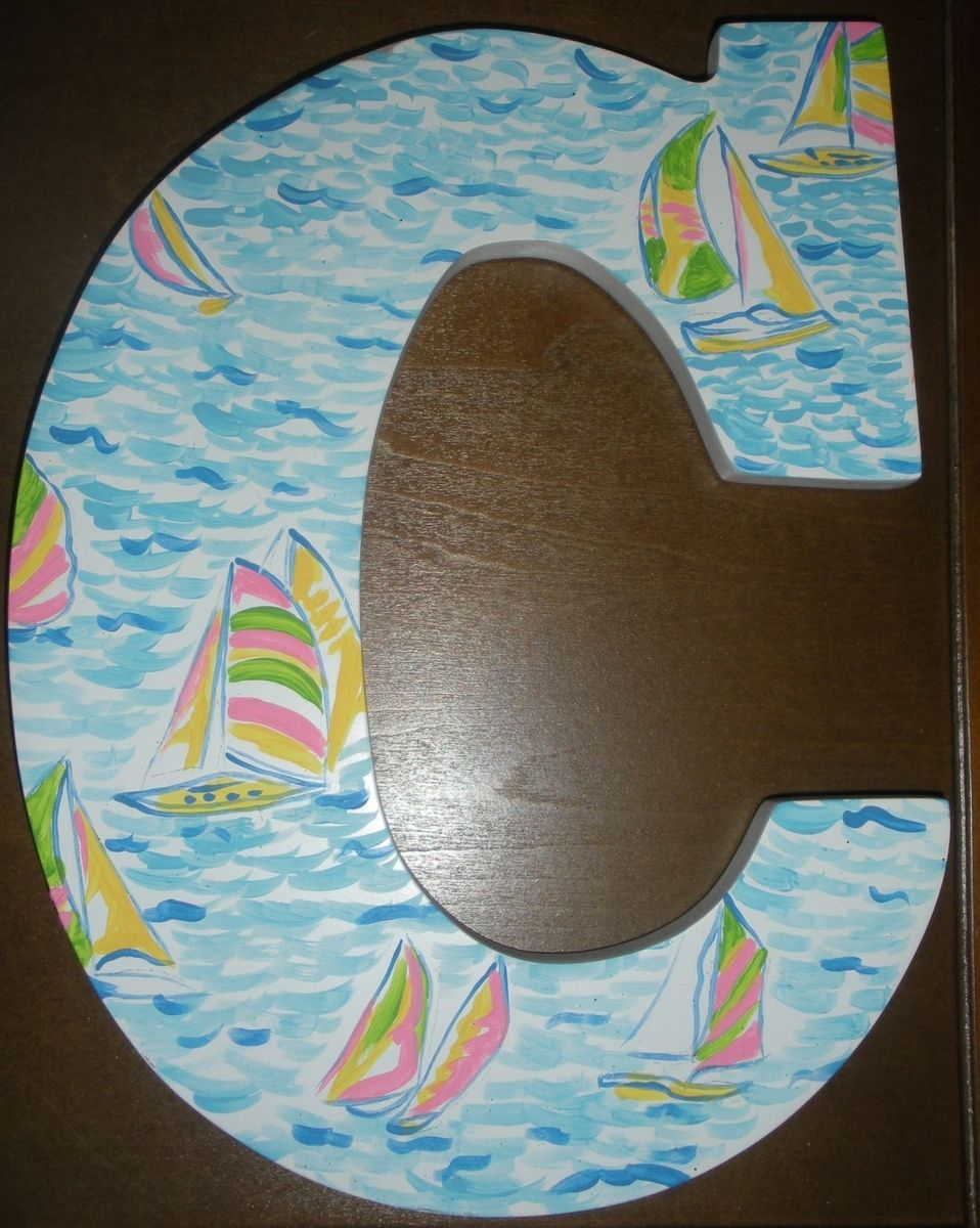 Buy a hand made lilly pulitzer inspired wooden wall letter for Lilly pulitzer sorority letters