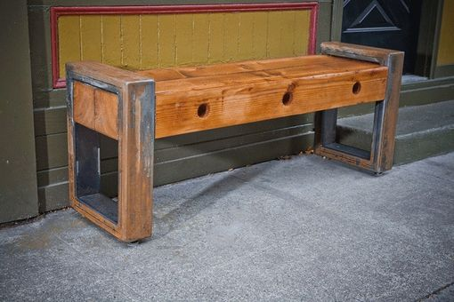 Custom Made Recycled Wood And Steel Console Table