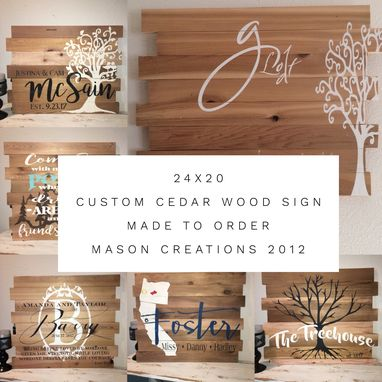 Custom Made 24x20 Cedar Multi-Board Rustic Sign Made To Order