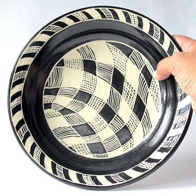 Custom Made Handmade Stoneware Plate With Black And White Checkered Pattern