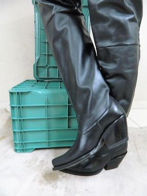 Custom Made Made To Order Thigh High Cowboy Boot , 34 Inch Shaft
