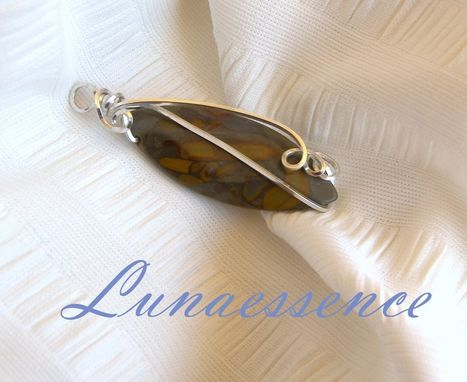 Custom Made Silver Gold Jasper Marquise Wire Wrapped Pendant