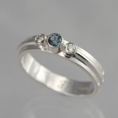 Custom Made 3 Stone Wrap Ring (Blue Zircon, Moissanite) Size 5.75