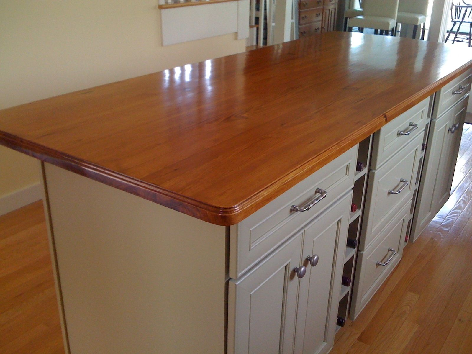 Custom Made Antique Reclaimed Southern Yellow Pine Wood Island Top