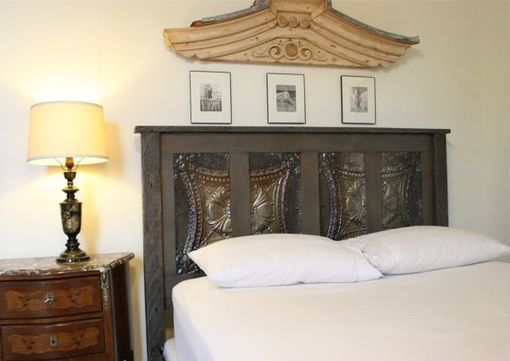 Custom Made Gray Toned Queen Bed Made Reclaimed New Orleans Houses And Ceiling Tin