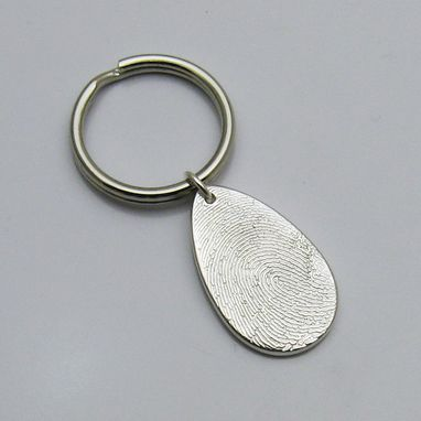 Custom Made Silver Teardrop Fingerprint Keychain