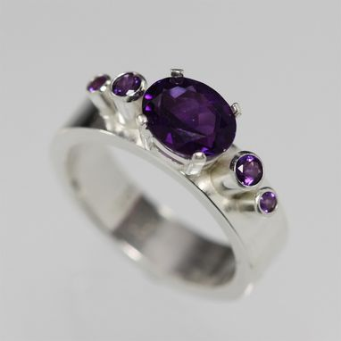 Custom Made 5 Stone Oval Crown Ring In Sterling Silver And Amethyst