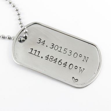 Custom Made Personalized, Custom Stamped Dog Tag Pendant With Chain