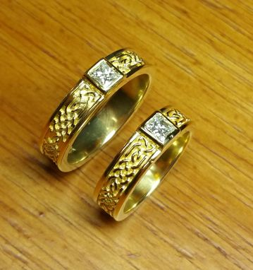 Custom Made 18 Kt. Gold Celtic Ring/ Wedding Sets