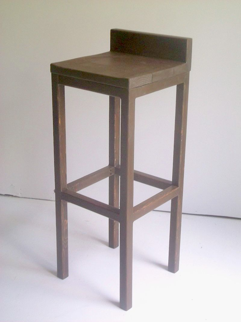 Custom Made Low Back Solid Wood Bar Stools Dining Chairs In Distressed White Or Dark